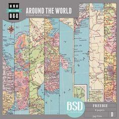 Free Around The World paper pack freebie from Brandi Sutherlin Designs via Quality DigiScrap Freebies