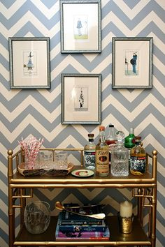 chevron wall + bar cart