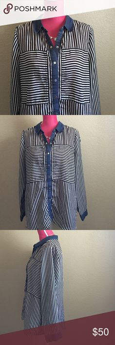 ECI Stripe Blouse with chambray trim Perfect blouse to wear with white jeans or tuck into a skirt for work. Excellent pre-worn condition. Offers welcome through the offer tab. No trades. 10713161401 ECI Tops Button Down Shirts