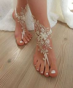 French lace barefoot sandals of good quality - İvory gold frame - İvory silver. Angel's DarkShadow AngelsDShadow Fashion and Make up French lace barefoot sandals of good quality - İvory gold frame - İvory silver frame - White Choose your foot numbe Beach Wedding Sandals, Beach Weddings, Barefoot Wedding, Barefoot Beach, Beach Wedding Footwear, Wedding Beach, Beach Sandals, Outdoor Wedding Shoes, Rustic Wedding