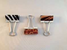 Set of 12 Animal Print Binder Clips - Zebra Giraffe Tiger Pretty Tools http://www.amazon.com/dp/B00JZQP8CA/ref=cm_sw_r_pi_dp_.ApJub17P1HWA