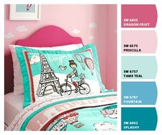Colors for a nursery, toddler or little girl's room: Pink, White, Teal (aqua or turquoise) Grey (gray) Color Palette created by ColorSnap from Sherwin-Williams. Theme:  Hot Air Balloons, Clouds, Paris, Eiffel Tower, Bike, Little Birds