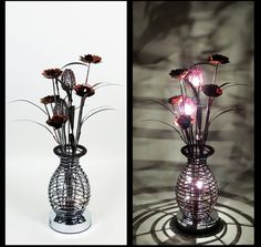 http://www.wirelamps.co.uk/WLT3047-3Coffee.html  Short Woven Wire Table Lamp in Coffee, featuring Long Leaves and Bloomed Flower Heads
