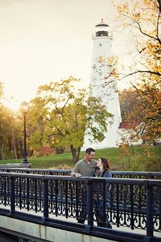 North Point Lighthouse Engagement Photo by Amarie Photography. See more Epic Milwaukee Engagement Photos here: http://www.marriedinmilwaukee.com/epic-engagement-photos