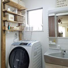Laundry Room Shelves, Laundry In Bathroom, Washroom, Japanese House, Wall Storage, Diy Wall, Home Organization, Decoration, Furniture Design