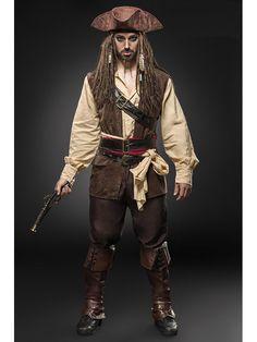 Fast wie im echten Film ist dieses Kostümset Filmfigur Jack Sparrow. Ein bisschen Schminke und fertig ist der Pirat Jack. Das Kostümset ist sehr umfangreich