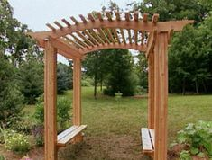 Beautiful double bench arbor  Ron Hazelton has produced a great step by step guide to this fantastic arbor.  Like the last one it doesn't feature the traditional trellis sides but instead both sides have a seat on which people can sit, the back of which is open to the garden.