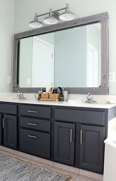 A Master Bathroom Refresh With Tuesday Morning masterbathroom budgetdecor Ad TuesdayMorningFinds 280067670563358924 Bathroom Kids, Bathroom Colors, Master Bathroom, Bathroom Gray, Wood Mirror Bathroom, Remodled Bathrooms, Bathroom Vanities, Bathroom Designs, Updating Bathrooms