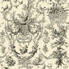 """York Wallcoverings Old World 33' x 20.5"""" Toile Wallpaper"""