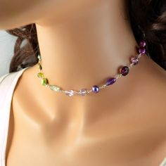 Sterling Silver Choker Necklace Jewel Tones Blue by livjewellery