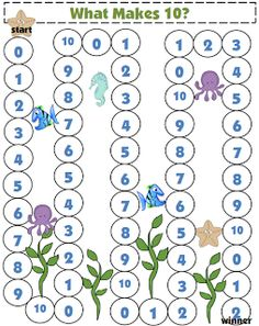 A key kindergarten common core math standard is to know what makes Here is a free printable game board to practice recognizing pairs of numbers to equal Math Stations, Math Centers, Math Resources, Math Activities, Classroom Resources, Math Addition, Teaching Addition, Simple Addition, Teaching Math