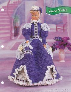 Violets & Lace, Annie's Attic Fashion Doll Clothes Crochet Pattern Club FCC15-02 - Dolls & Toys