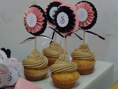 Pink & Black Birthday Party Ideas. Cupcakes, toppers pink and black
