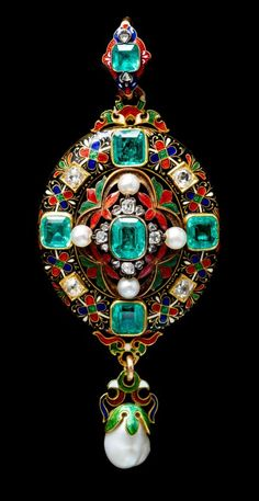 A Fine Renaissance Revival Yellow Gold, Polychrome Enamel, Emerald, Diamond and Natural Pearl Pendant, Circa 1870, #renaissance revival