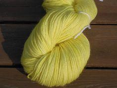 Luxury Handdyed Corriedale Wool DK weight Yarn, 3-ply, Lemon