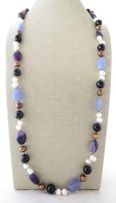 Collana con agata blu, viola, perle bianche e marroni, gioielli con pietre dure…