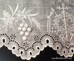 Vine in White Work Embroidery with Lace Edging ....