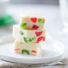 White Christmas Jewel Fudge ~ white chocolate with candied cherries ~ plus recipe variations for Rum Raisin Fudge and Toasted Nutty White Fudge Milk Recipes, Fudge Recipes, Candy Recipes, Chocolate Recipes, Holiday Recipes, Cooking Recipes, Christmas Recipes, Christmas Foods, Holiday Foods