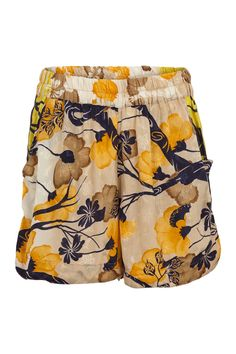 These shorts are perfect for a chill day at home, or to bring on your  vacation.It has elastic waist for a perfect fit and two front pockets.  The shorts are made of the fabric from an up-cycled vintage sari from  India, and used to belong to a local Indian woman. Now the shorts is part  of a