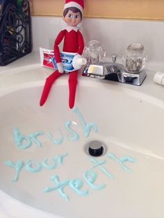 Our #elfontheshelf wanted to make sure good hygiene practices sink in...