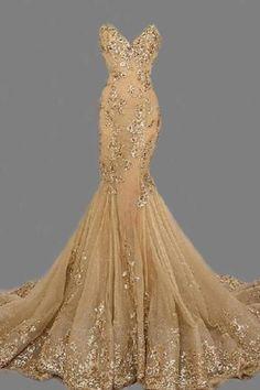 Fashion Sexy Gold Sweetheat Long Prom Dress,Handmade Gold Formal Women Evening D. Gold Prom Dresses, Women's Evening Dresses, Mermaid Dresses, Graduation Dresses, Dresses 2016, Prom Gowns, Women's Dresses, Ball Gowns, Elegant Dresses