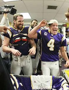 "Jared Allen & Brett Favre -- two wild and crazy guys!  Brett doing the ""pants on the ground"" routine. :o)) Jared probably put him up to it."