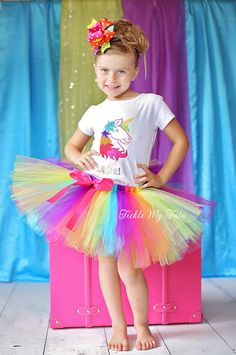 Rainbow Unicorn Birthday Tutu Outfit Rainbow by TickleMyTutu