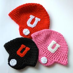 Free Pattern for Crocheted Football Helmet Hats 6 sizes: newborn-child
