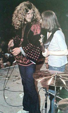 "allaboutjonesy: """"Robert Plant and John Paul Jones onstage at the Vigorelli Velodrome in Milan, Italy. July 5th, 1971. "" """
