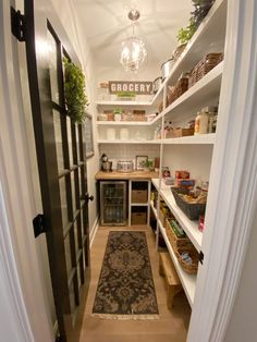 A walk in pantry makeover from builder grade to organized functionality. A walk in pantry makeover. Goodbye wire shelves, hello glass front fridge, subway tile, wooden shelving and a butcher block countertop. Kitchen Pantry Design, Kitchen Organization Pantry, Home Decor Kitchen, Interior Design Kitchen, Home Kitchens, Pantry Shelving, Shelving Ideas, Dream Kitchens, Open Shelving