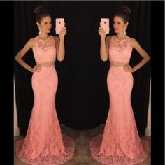 Two Pieces Dresses 2016 Lace Mermaid Style Cheap Evening Gowns Sheer High Neck Pink Floor Length Prom Party Dress