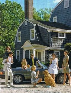 Preppy family gathering with preppy house and car
