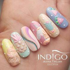 Cute Nails, Pretty Nails, My Nails, Diy Acrylic Nails, Gel Nail Art, Elegant Nail Designs, Nail Art Designs, Nail Art Cupcake, Nail Art Arabesque