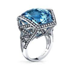 Vibrant and Stunning  Vanna K Style 18RO98101D fashion ring, blue topaz, 2013 jewel, cocktail rings, choic award, vanna, white gold, fine jewelri, blues