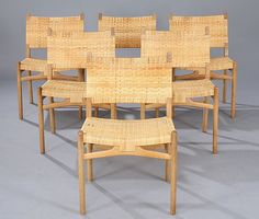 Classic midcentury chairs designed by Hans Wegner in 1956
