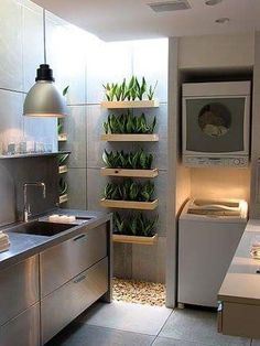 urban gardening - 23 Tiny Laundry Room With Nature Touches Home Design And Interior Outdoor Laundry Rooms, Tiny Laundry Rooms, Laundry Room Design, Laundry Area, Farmhouse Style Kitchen, Modern Farmhouse Kitchens, Home Kitchens, Home Design, Küchen Design