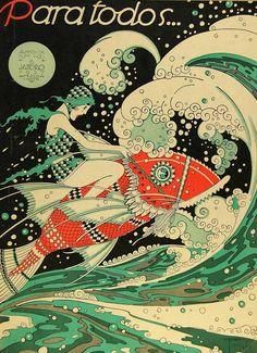 J. Carlos (1884-1950) - Para Todos Brazilian Magazine cover January 1927 - (José Carlos de Brito e Cunha)