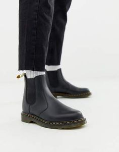 877cfb7c4b0b Shop Dr Martens faux leather 2976 chelsea boots in black smooth at ASOS.