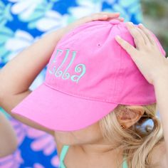 b8ec9eb799a Monogrammed Baseball Hats Caps Embroidered Hats Viv and Lou Personalized Ball  Caps Summer Hats Adjustable Back Boy Cap GIrl Cap Game Day