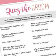 Free Printable | Bachelorette Party Groom Quiz  >>> Download at shopstagandhen.com