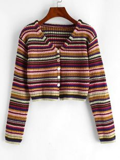 [Share for Rewards]Button Up Cropped Colorful Stripes Cardigan Plus Size Sweaters, Plus Size Blouses, Plus Size Lingerie, Plus Size Swimwear, Cute Clothes For Women, Skirt Leggings, Striped Cardigan, Sweater Cardigan, Two Piece Outfit