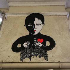 Fred le chevalier street art in Paris (Rue Notre Dame de Nazareth)
