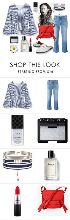 """""""Striped blouse"""" by valya-strelc ❤ liked on Polyvore featuring Chicwish, 7 For All Mankind, Gucci, NARS Cosmetics, Accessorize, Bobbi Brown Cosmetics, MAC Cosmetics and BCBGMAXAZRIA"""