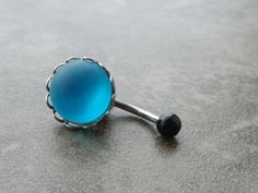 Glowing Turquoise Blue Belly Button Ring Jewelry by MidnightsMojo, $15.00