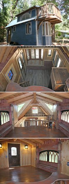 The 1904 is an 18′ tiny house built by Molecule Tiny Homes. The distressed exterior and antique finishes give it the appearance of a hundred year old house.