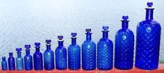 Complete Set of Twelve Quilted Diamond Poisons + Stoppers, 1/2 oz to 1/2 gallon