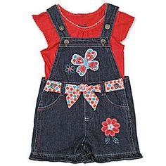 Young Hearts Toddler Girl's T-Shirt & Denim Shortalls - Butterfly