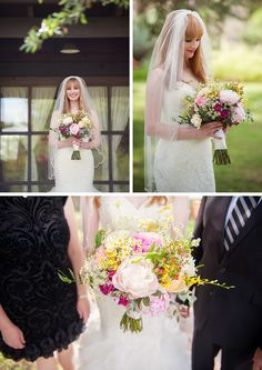 This stunning bridal bouquet has white peonies, shades of bright and light pink roses and pops of yellow. Whim Florals.