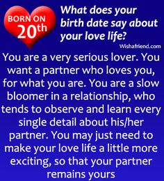 If you are born on 20th, what does it say about your love life?