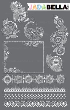 Instant Download Set of 10 Henna Elements by jadabellastudio